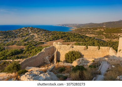 View from Kastelos castle on hill of Kritinia (island of Rhodes, Greece)