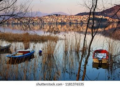 """View of Kastoria town and Orestiada (or """"Orestias"""") lake, Macedonia, Greece."""