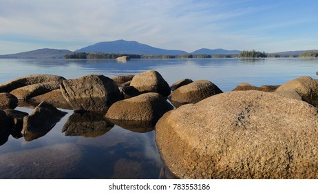 View of Katahdin across Millinocket Lake in Maine