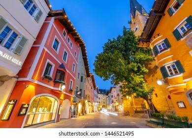 View of Katharinenkirche on Vorderstadt at dusk, Kitzbuhel, Austrian Tyrol Region, Austria, Europe 1-5-2019