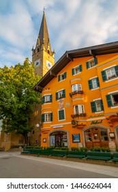 View of Katharinenkirche on Vorderstadt, Kitzbuhel, Austrian Tyrol Region, Austria, Europe 1-5-2019