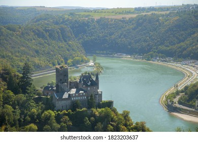 View of Katz castle and the Lorelei rock, Upper middle Rhine valley-Germany