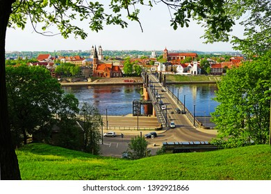 View of Kaunas from the observation deck under an oak, Lithuania