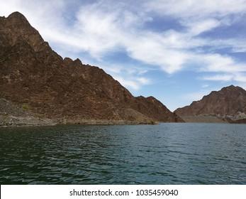 view from kayak in Hatta Dam, Dubai, UAE
