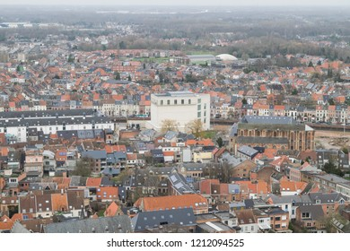 View of the Kazerne Dossin and rooftops in the cityscape of Mechelen, Flanders, Belgium