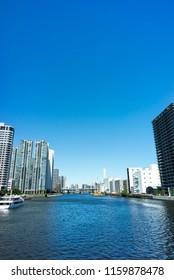 view of keihin canal shinagawa tokyo japan