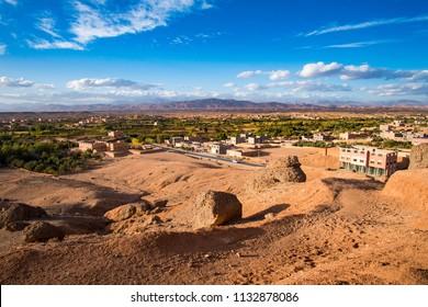 View of Kelaat Mgouna, Kalaat M'Gouna or El Kelaa M'Gouna village in the Valley of roses in Morocco, Africa