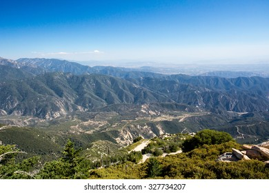 The view from Keller Peak observation hut on a hot summer's day near Los Angeles, California, USA