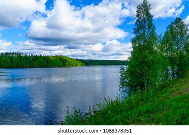View of the Kemijoki River, in Lapland, Finland