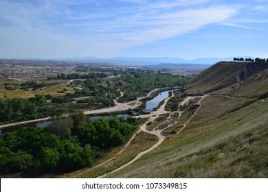 View of Kern River landscape during spring season at Panorama Vista Preserve, Bakersfield, CA.