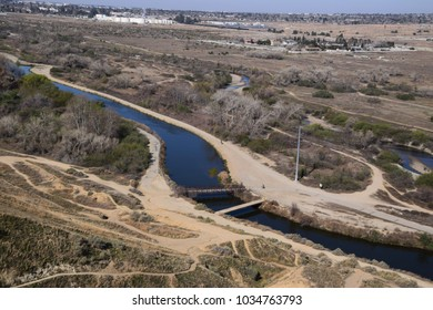 View of Kern River at Panorama Vista Preserve. Its dry during the winter season but the grass is slowly turning green thanks to the recent rainy days in Kern County.