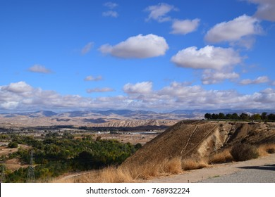View of Kern River valley, clear sky after the rain during fall season, Panorama Vista Preserve. A tranquil area to explore near the city of Bakersfield.
