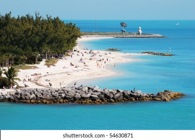 The view of Key West town beach next to the military base (Florida).