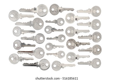 View of keys on white background. Top view.