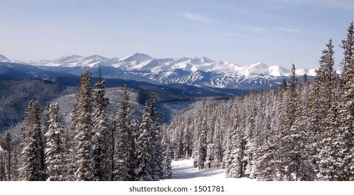 The view from Keystone alpine ski area in the Rocky Mountains, Colorado, USA