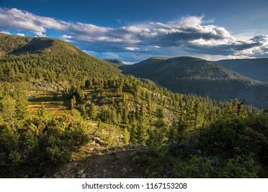 view of Khamar-Daban mountains, Siberia, Russia, Irkutsk region