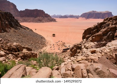 View of Khazali Canyon from Lawrence's Spring, Wadi Rum Protected Area, Jordan