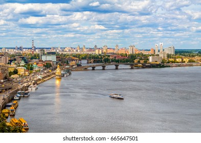 View of Kiev from an observation point over the Dnieper. Ukraine