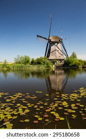 View of Kinderdijk, a park with dutch windmills near Rotterdam.