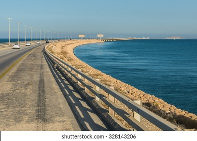 A view of the King Fahd Causeway between Saudi Arabia and Bahrain showing the view from Saudi Arabia.