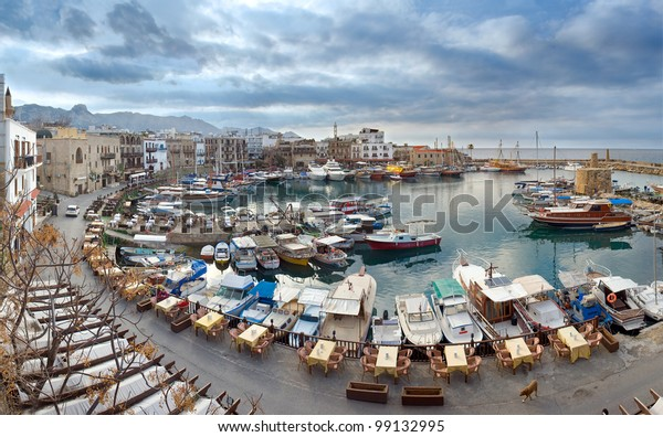 The view from Kirenia Castle Harbour, Northern Cyprus. Dull season.