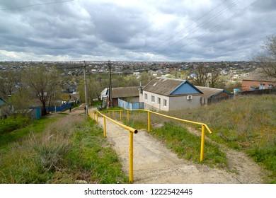View of Kirov Lane and area of private building. Elista, Kalmykia