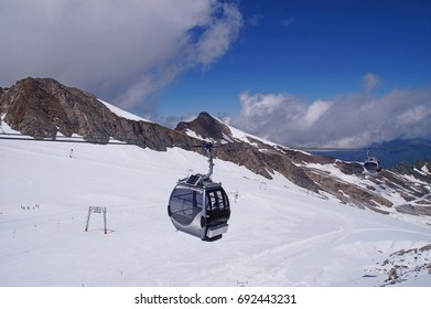 View from the Kitzsteinhorn summit station or Gipfelwelt 3000 which is situated 3.029m above sea level. It is the highest point accessible for everyone in the country of Austria