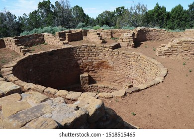 View of kiva in Pipe Shrine House at Far View Sites in Mesa Verde National Park, Colorado