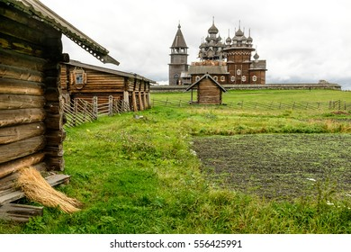 View of Kizhi Churchyard (The Kizhi Pogost) from field behind Oshevnev peasant historical house, UNESCO world heritage site, Karelia, Russian north-west