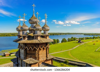 View of Kizhi island from the bell tower. In the foreground Orthodox Church of the Intercession of the Virgin in Kizhi Pogost. Kizhi island, Onega lake, Karelia, Russia.