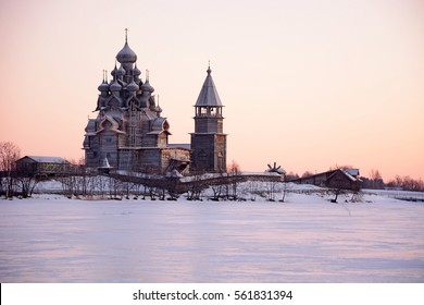 View of Kizhi Island at the sunset, Karelia Republic, Russia
