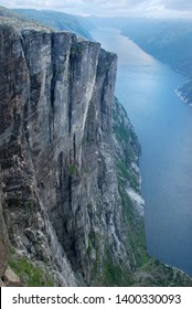 View from Kjerag mountain to  great cliffs of Lysefjord. Best exit for base jumping. Norway.