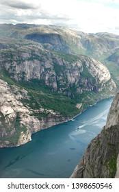 View from Kjerag mountain to Lysefjord. Norway.