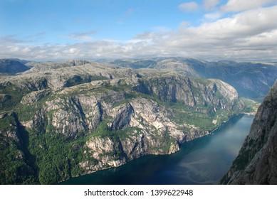 View from Kjerag mountain to Lysefjord. Norway nature.