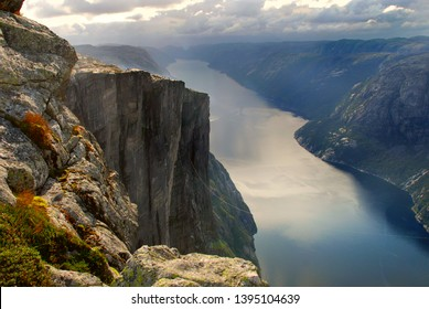 View from Kjerag mountain to Lysefjord in summertime. Evening. Norway.