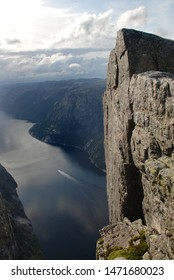 View from Kjerag mountain to Lysefjord in summertime. Granitic rock on the foreground.  Norway.