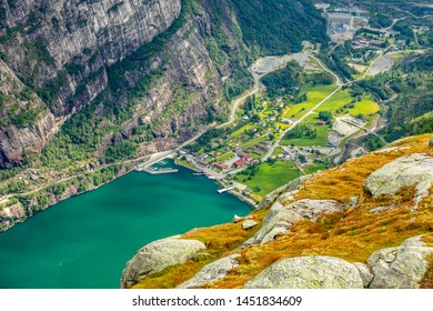 View from the Kjerag trail to Lyseboth norwegian village located at the end of Lysefjord, Forsand municipality, Rogaland county, Norway