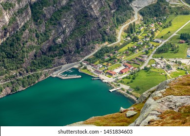 View from the Kjerag trail to Lyseboth small norwegian town located at the end of Lysefjord, Forsand municipality, Rogaland county, Norway