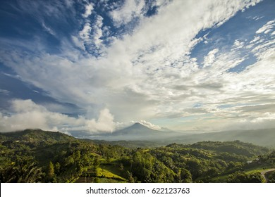 View of Klabat Mountain in Manado, North Sulawesi, Indonesia