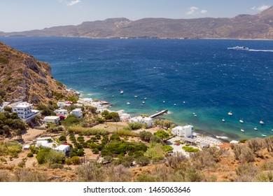 View of Klima fishing village, Milos island, Cyclades, Greece.