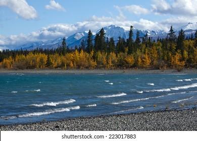 View of Kluane Lake and front range of St. Elias mountains near Kluane National Park, Yukon, Canada