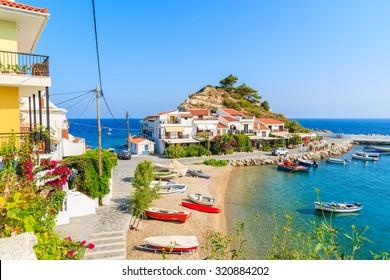 A view of Kokkari fishing village with beautiful beach, Samos island, Greece