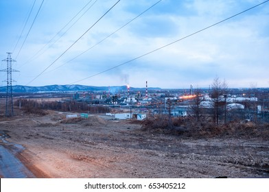 View of the Komsomolsk oil refinery in spring