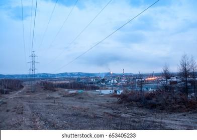 View of the Komsomolsk oil refinery in spring