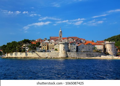 View of Korcula old town, Croatia. Korcula is a historic fortified town on the protected east coast of the island of Korcula