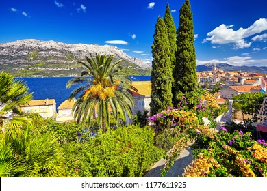 The view of the Korcula town, Korcula island, Dalmatia, Croatia