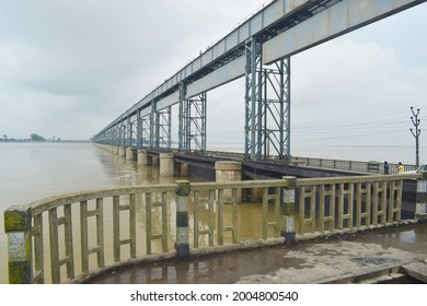 View of koshi river from the bridge, which also act as dam; Koshi dam protects flood entering Bihar of India; connects Saptari and Sunsari district of Nepal.