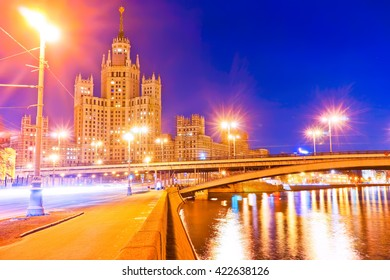 View of the Kotelnicheskaya Embankment Building along the Moscow River at night
