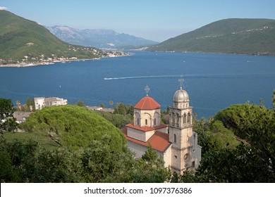 view of Kotor Bay and Savina Monastery in Herceg Novi, Montenegro
