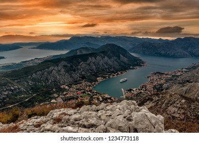 The view  of Kotor and Boka bay from above in the sunset, Montenegro